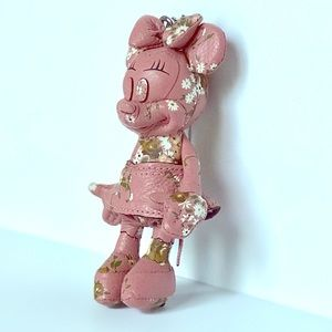 Disney X Coach Minnie Mouse pink leather keychain